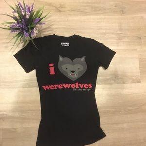 Halloween I love werewolves tee shirt small